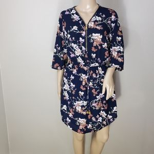 Navy Blue Floral Zip Front Mini Dress Small